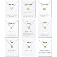 12 Constellation Necklace Pisces Aquarius Aries Taurus Leo Capricorn Choker Birthday Gifts Pendant White Message Card