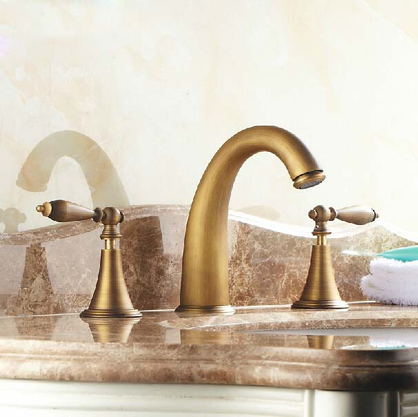 High Quality Antique Copper Faucet Double Handle 3 Hole Faucets Bathroom Sink Washbasin Water Tap Mixer