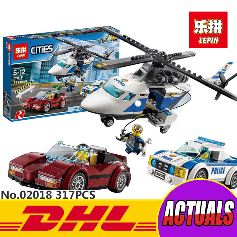 Lepin 02018 317Pcs New City Series The High-speed Chasing Helicopter Set Children Educational Building Blocks Bricks Toys 60138 lepin 02025 city the high speed racer transporter 60151 building blocks policeman toys for children compatible with lego