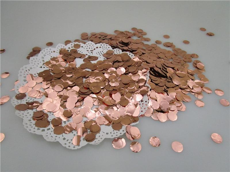 1 cm 1 kg/worek okrągłe metalowe folia różowe złoto koło konfetti rzucając Baby Shower ślub rocznica dekoracje świąteczne w Banery, serpentyny i konfetti od Dom i ogród na  Grupa 1