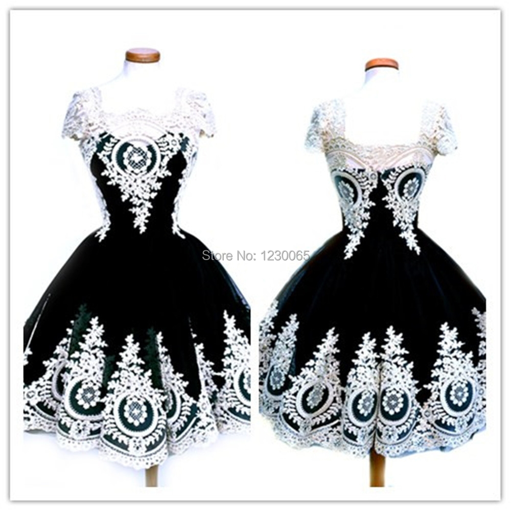 sexy cap sleeve lace appliques black tulle short prom gown 2018 real photos vestidos Party prom ball gown   bridesmaid     dresses
