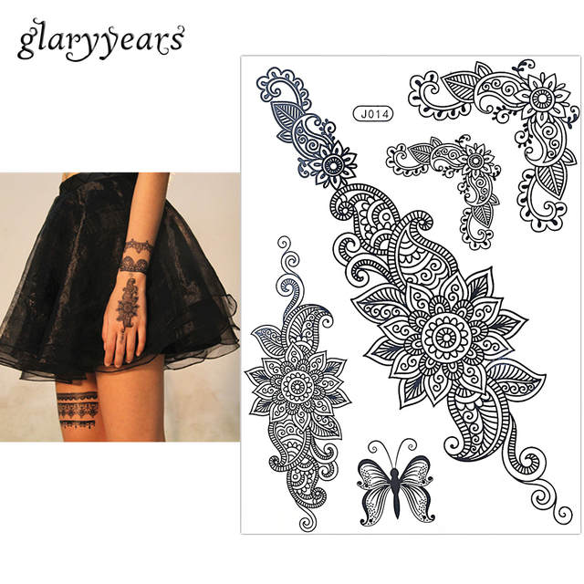 e28977dfd5 placeholder 1PC Fashion Flash Waterproof Tattoo Women Black Henna Jewel  Lace BJ014 Sexy Secret Arm Body Art