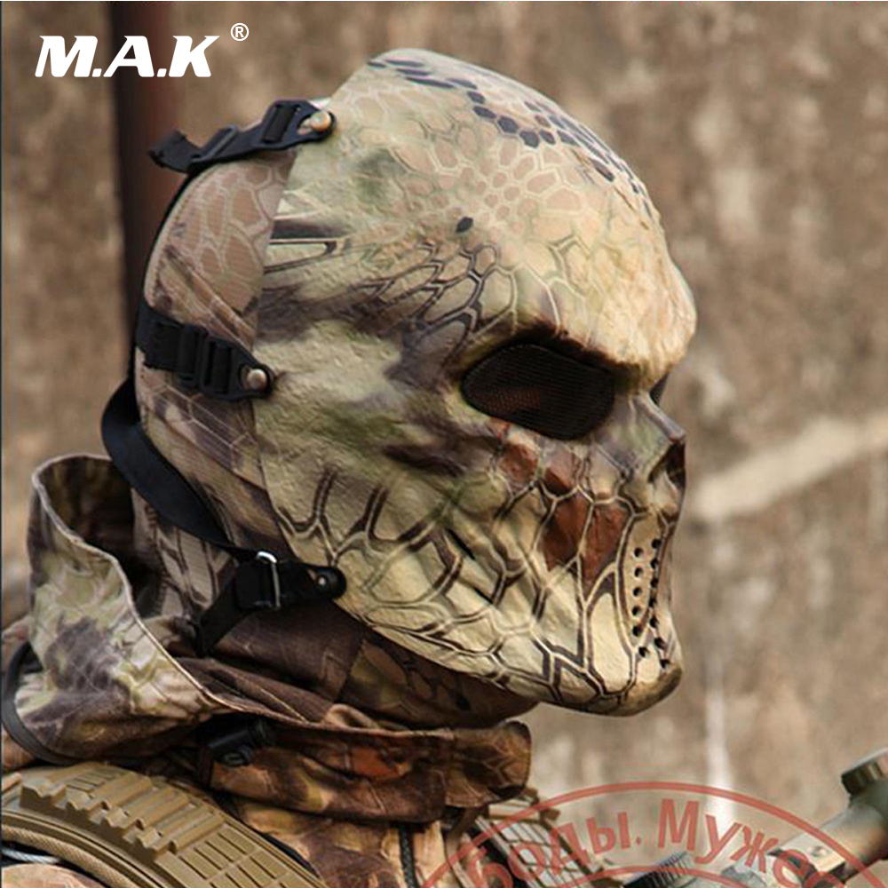 Typhoon Camouflage Masks Ghost Tactical Military CS Wargame Paintball Airsoft Skull Protection Full Face Mask-Python wasteland цена 2017