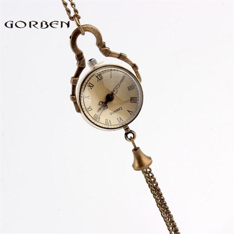 Small Glass Quartz Pocket Watch Roman Numerals Elegant Women Gifts New Fashion Transparent Pocket Light Watch With Bell P10