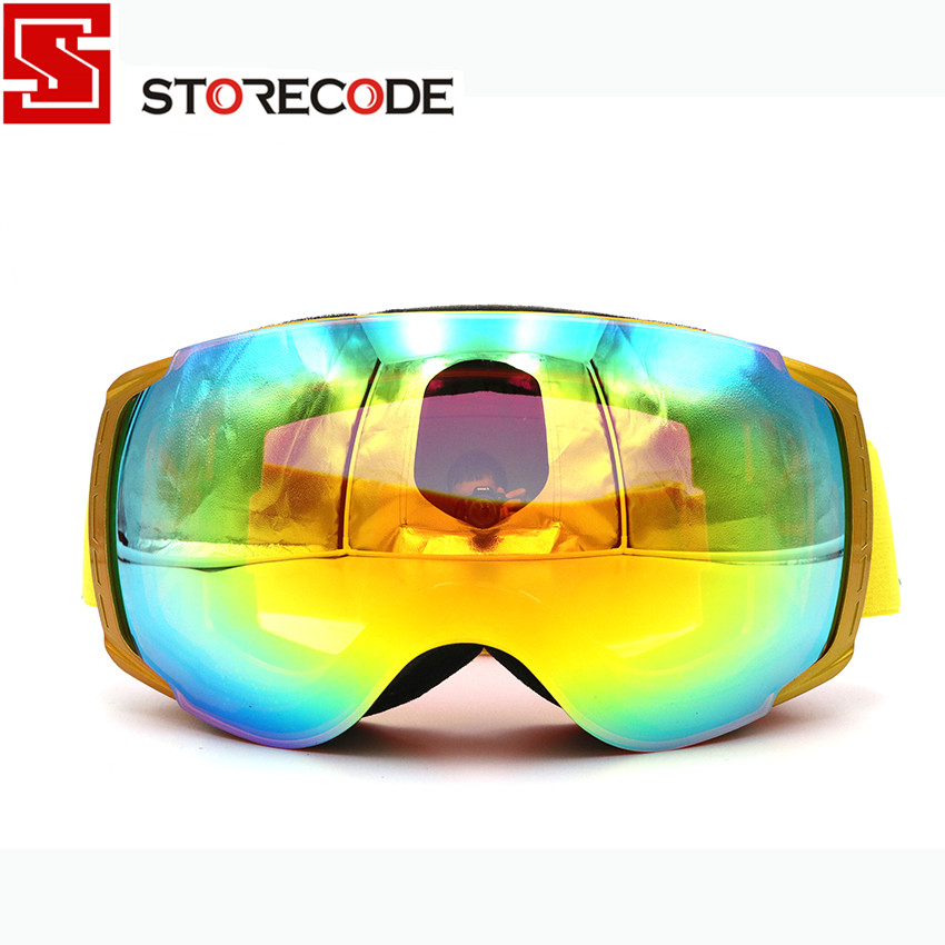 StoreCode Brand New Ski Goggles Double Lens Anti-Fog UV400 Snowboard Glasses Men Women Golden Frame Skiing Snow Goggles Set 658 new women s sunglasses metal frame reflective coating mirror flat panel lens brand designer sun glasses for women oculos de sol