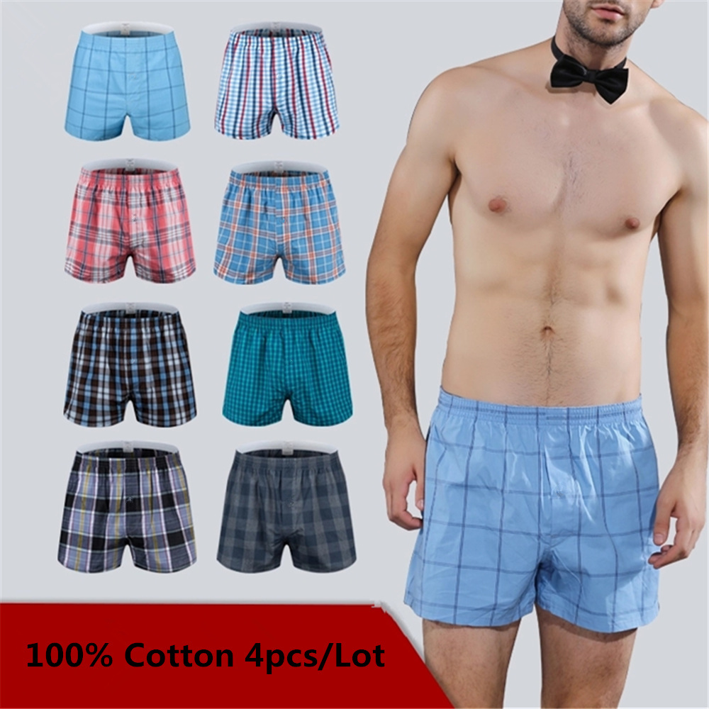 4PCS Mens Underwear Boxers Loose Shorts Men'S Panties Cotton The Large Plaid Arrow Pants Plus Size  Classic Basics Plaid