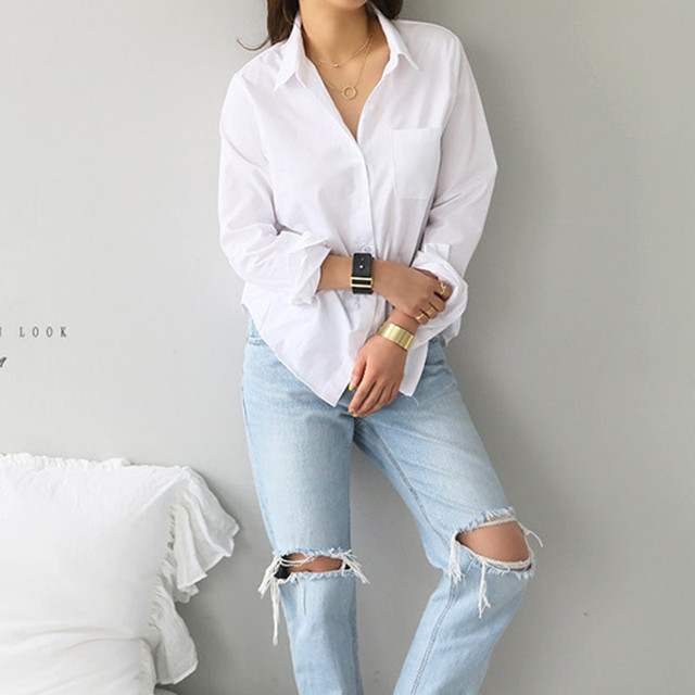 2020 Autumn New White Blouse Shirt Casual Loose Long Sleeve OL Style Shirt Women Korean Office Tops Streetwear 2