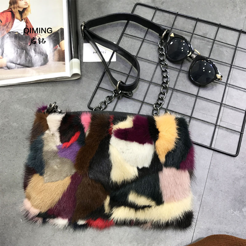 Fur bag fashion style designer striped colorful otter clutch bag lady small bag shoulder bag Messenger bag party evening bag P#8 bag laura ashley bag href page href page 8