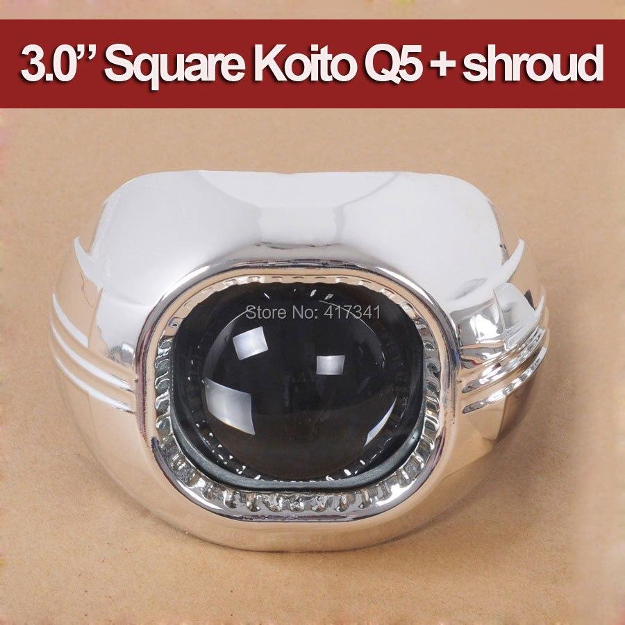3.0 HID bi-xénon projecteur lentille carré Koito Q5 avec couvercle de projecteur MAX-A 2 pièces pour phare utilisation D1S D2S D2H D3S D4S lampe xénon