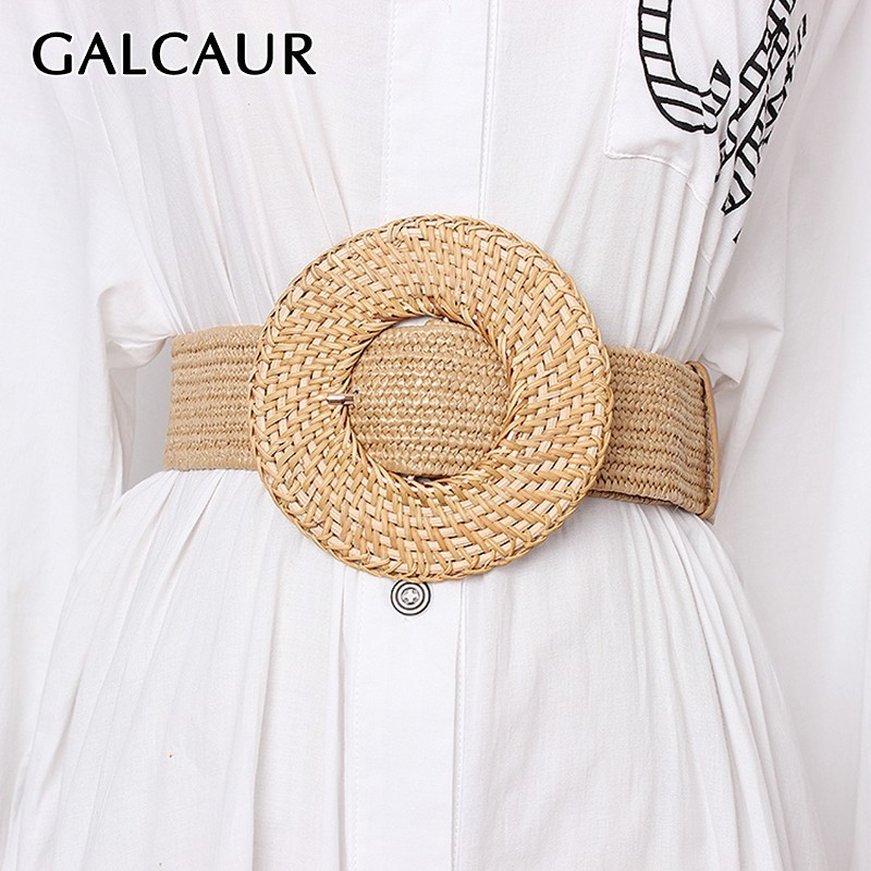 GALCAUR Elegant Lage Size Linen Belt For Women Vintage Dresses Accessories Striped Belts Female Fashion New Tide 2020 Summer