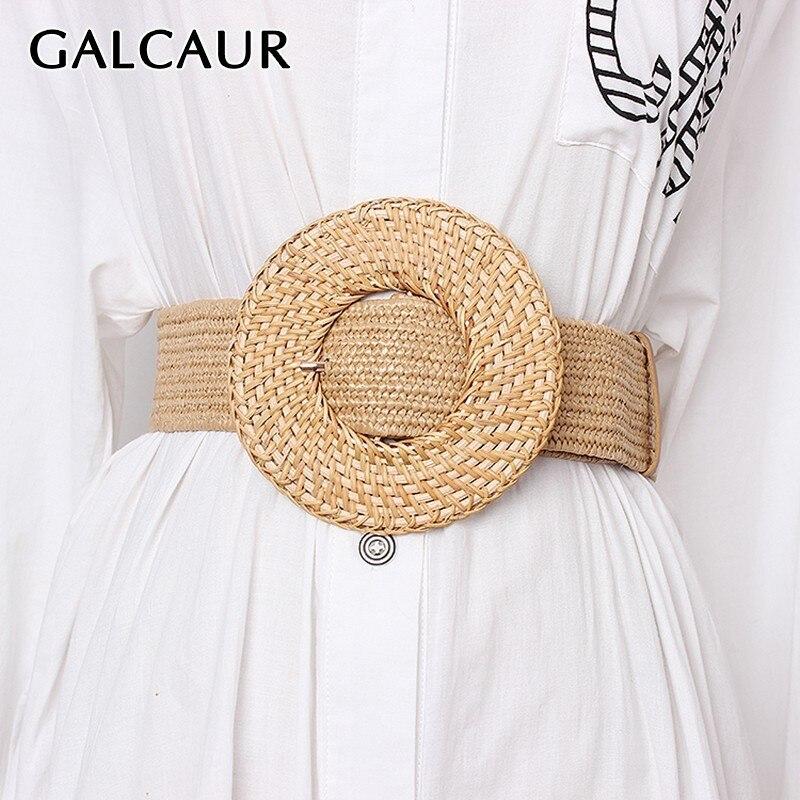 GALCAUR Elegant Lage Size Linen Belt For Women Vintage Dresses Accessories Striped Belts Female Fashion New Tide 2020 Summer