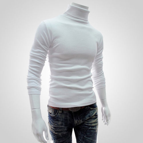 Men Fashionable Solid Pullover Coat High Neck Long Sleeve Sweater Jacket Jumper Knit Regular Tops