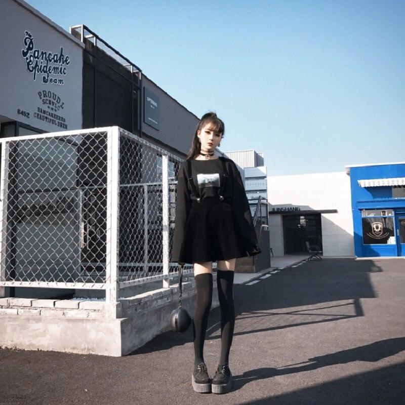 Women's Skirt Harajuku Velvet Punk Love Clip Strap Skirt For Female Ladies Mini Skirts Black #3