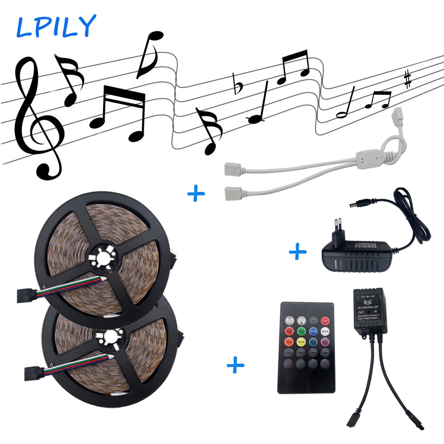LPILY 10m 2835 RGB led strip flexible SMD Strip light +IR Music controller rgb led ribbon non waterproof for indoor decoration