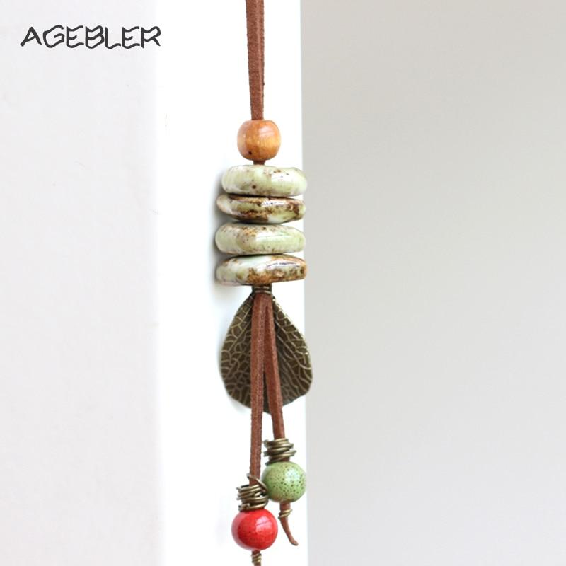 Boho Maxi handgemachte Keramik Vintage Halsketten Frauen bunte Perle Blatt Anhänger lange Leder Frauen Anweisung Halskette & Anhänger