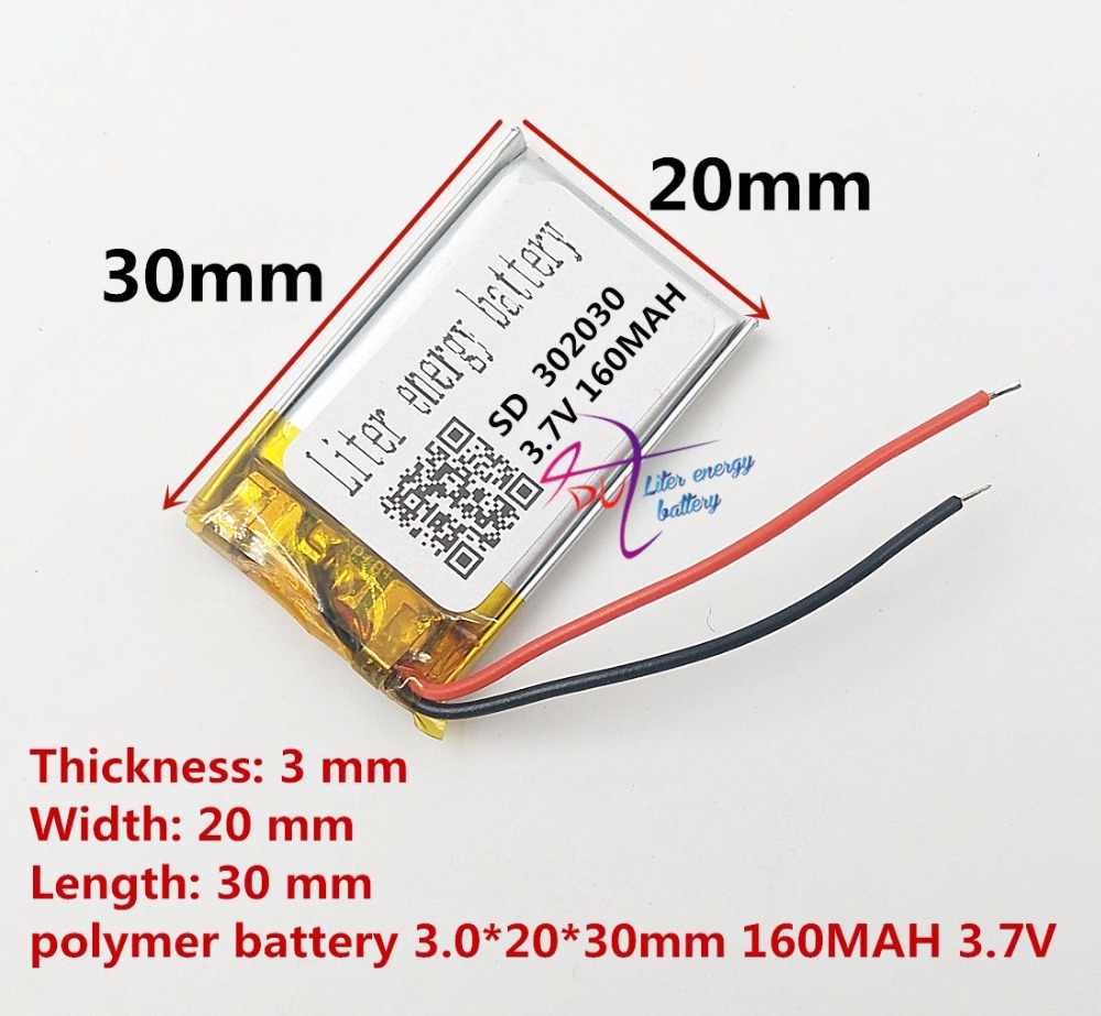 <font><b>3.7V</b></font> lithium battery 302030 032030 160mah MP3 MP4 GPS Bluetooth cell battery toys image