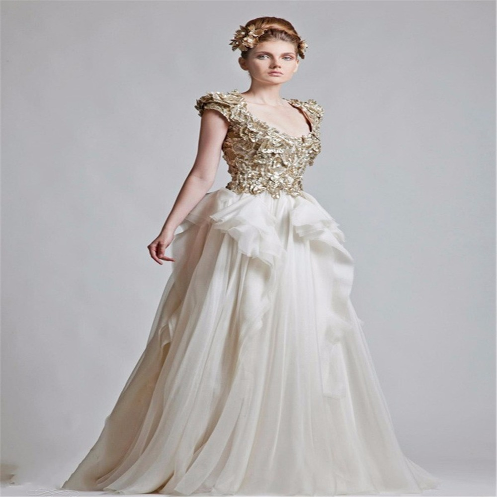 White Wedding Gown Gold: 2016 New Wedding Dresses Ball Gown Scoop White Bridal