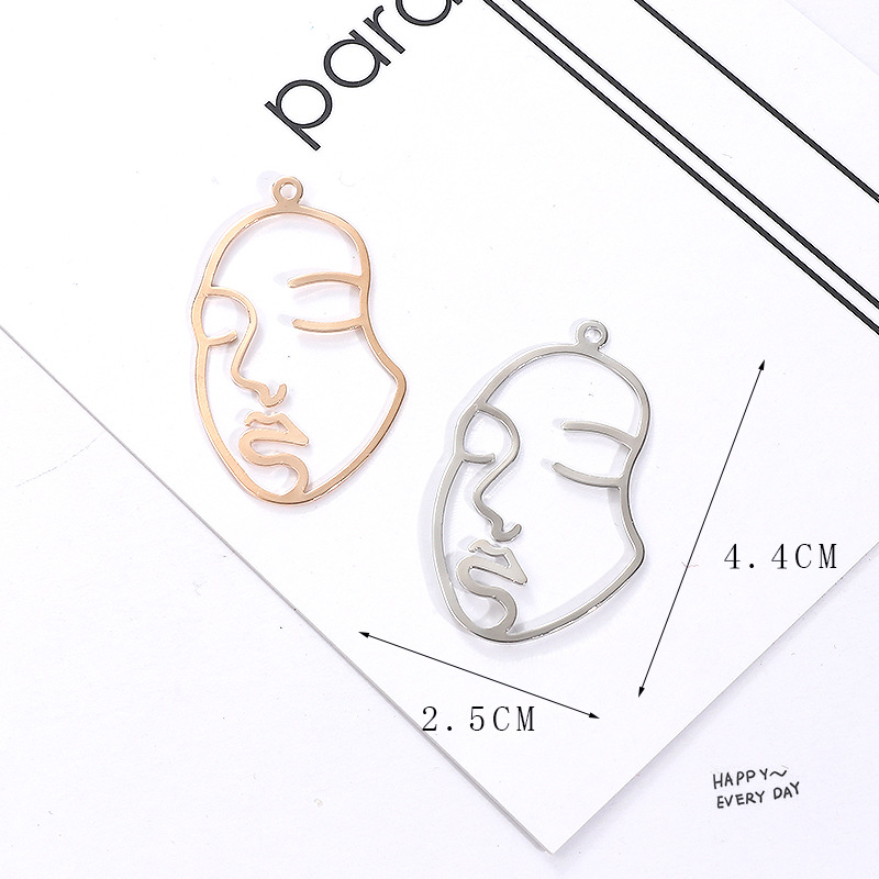 SEA MEW 10 PCS Fashion Zinc Alloy Human Face Pendant Connectors Charm For Earring Jewelry Making