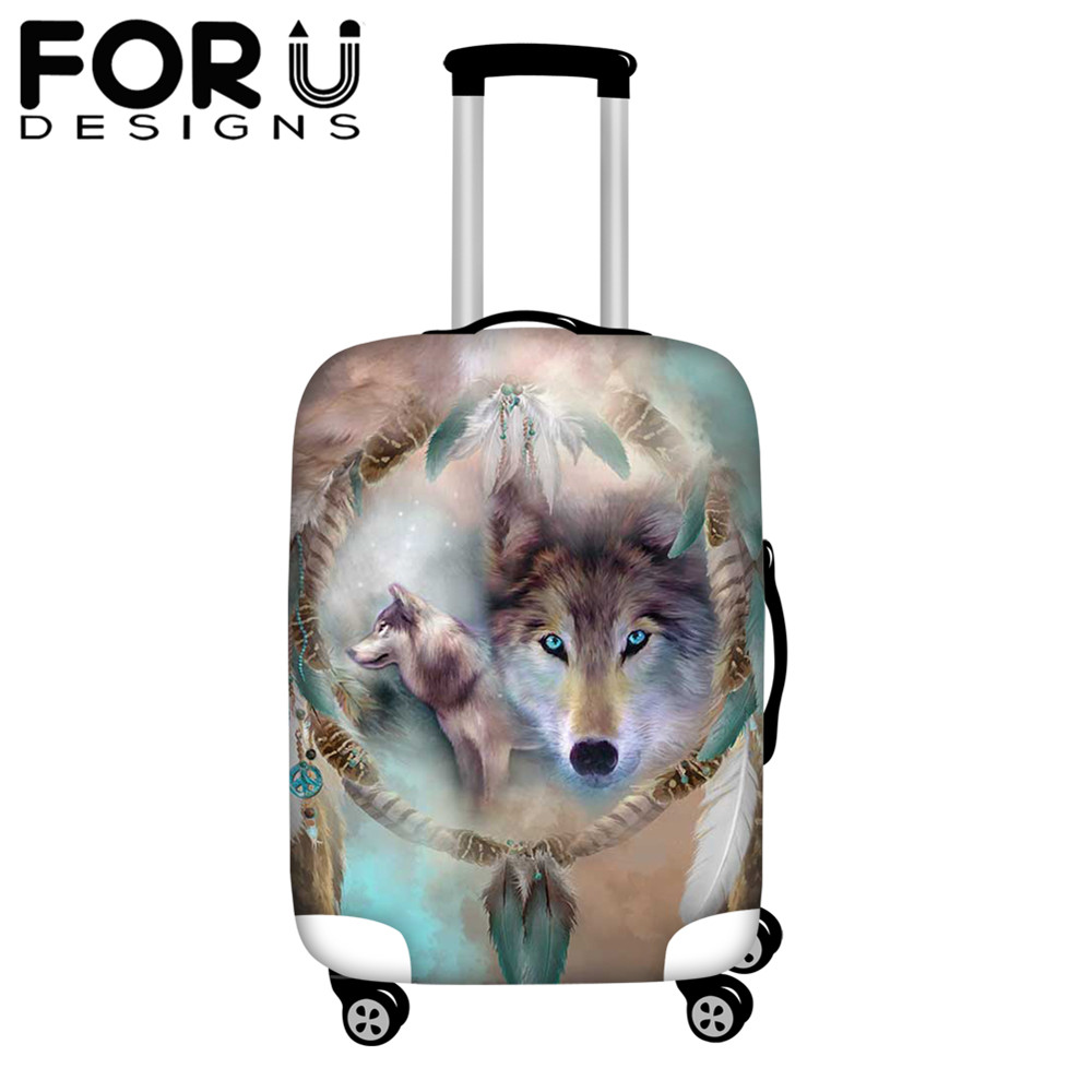 FORUDESIGNS Elastic Luggage Protective Cover 3D Wolf Animal Print Thick Suitcase Covers Dreamcatcher Feathers Travel Accessories