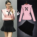2017 autumn spring new fashion knitting sweater and skirt suits pink pullover and black skirts 2 pieces sets outfits ruffle bow