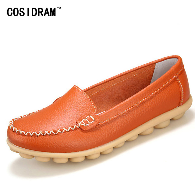 2016 New Casual Loafers Women Genuine Leather Mother Shoes Moccasins Soft Leisure Flats Female Driving Ladies Footwear BSN-601