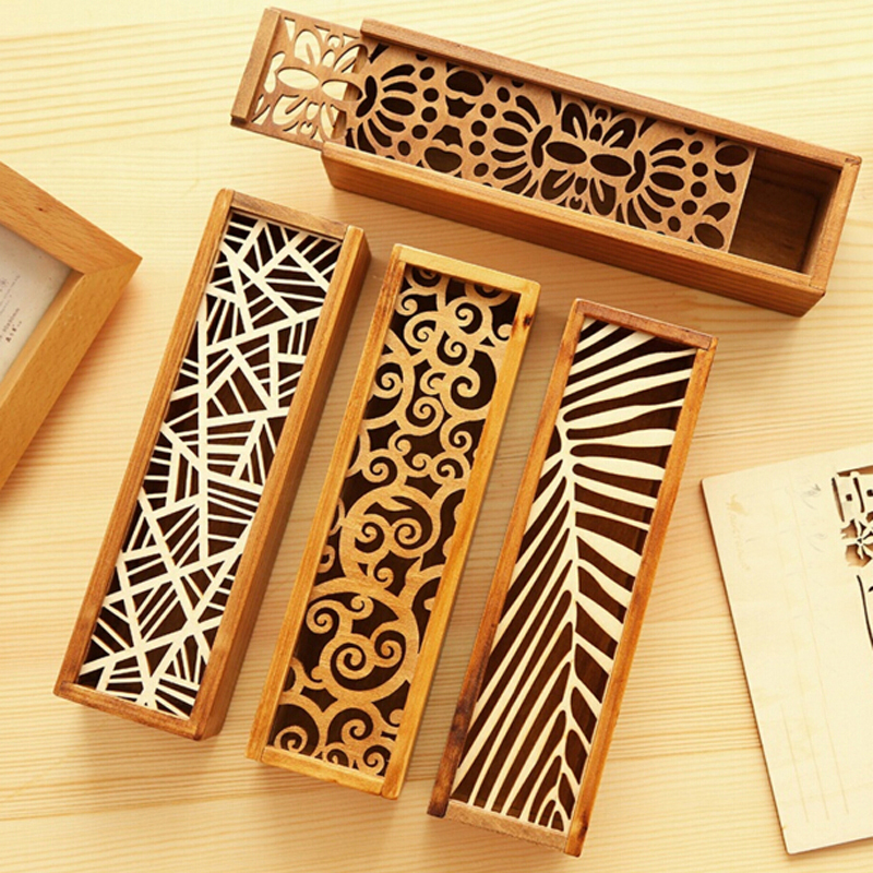 Creative Stationery Wood Lace Hollow Wooden Pencil Case Pencil Box Students Office School Supplies Fashion Gifts Prize new arrival office school supplies pencil box wood pencil cases unique design wooden pencil cases b034