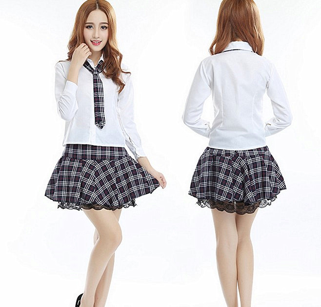 Dynamic 3pcs Womens Sexy Costumes School Girls Sweet Night Clubwear Cosplay Set Shirt With Plaid Skirt And Tie Clothing For Female Women's Costumes
