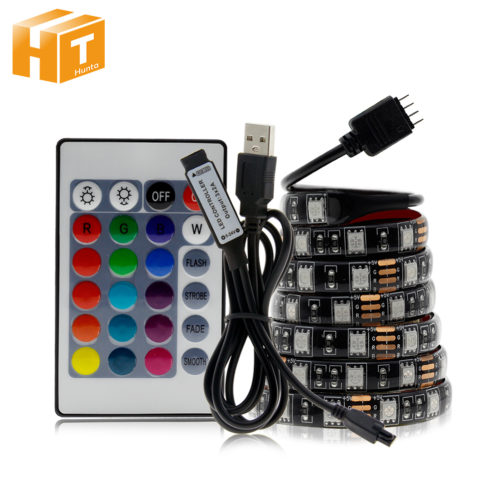 USB LED Strip RGB DC5V Flexible LED Light RGB Color Changeable Waterproof LED Strip 5050 50cm 1m 2m Set.