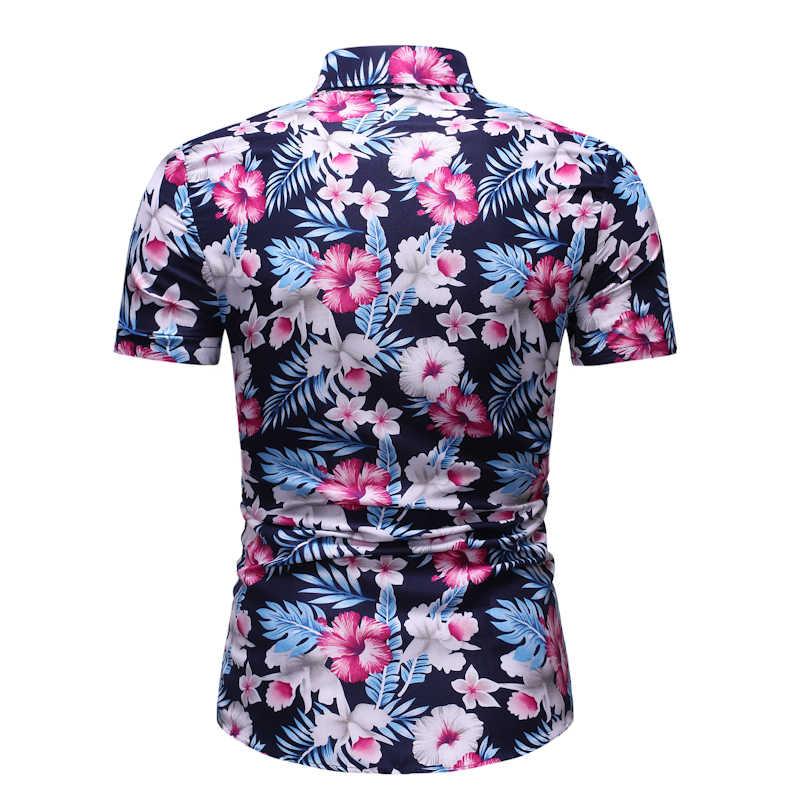 Мужские Гавайские пляжные рубашки с цветочным принтом Aloha с коротким рукавом на пуговицах мужские вечерние повседневные рубашки Chemise Homme 3XL