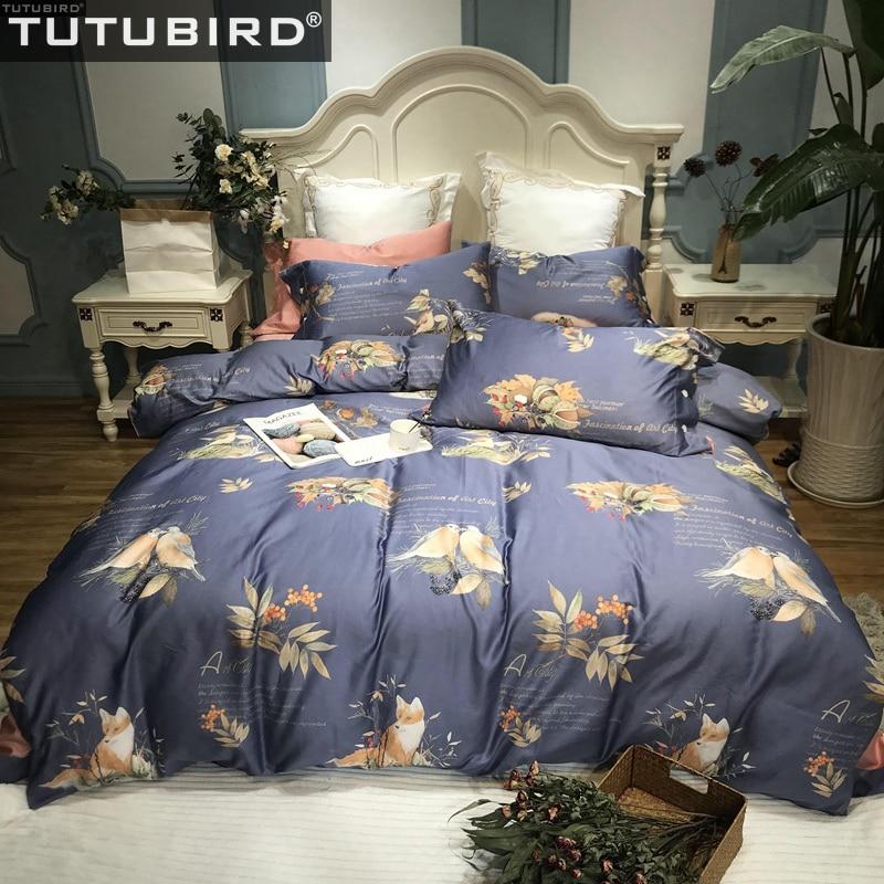 Detail Feedback Questions About Blue Egyptian Cotton Bed Linen Sheets Soft Satin Bedding Sets Bird Fox Print Cartoon Duvet Cover Pillowcases Bedspreads On