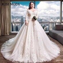 Rose Moda Vintage Long Sleeves Train Wedding Dresses 2019