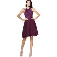 Vinca Sunny 2018 Mini Beach Purple Bridesmaid Dresses A Line LACE CHIFFON Formal Wedding Party Dress Custom MadE