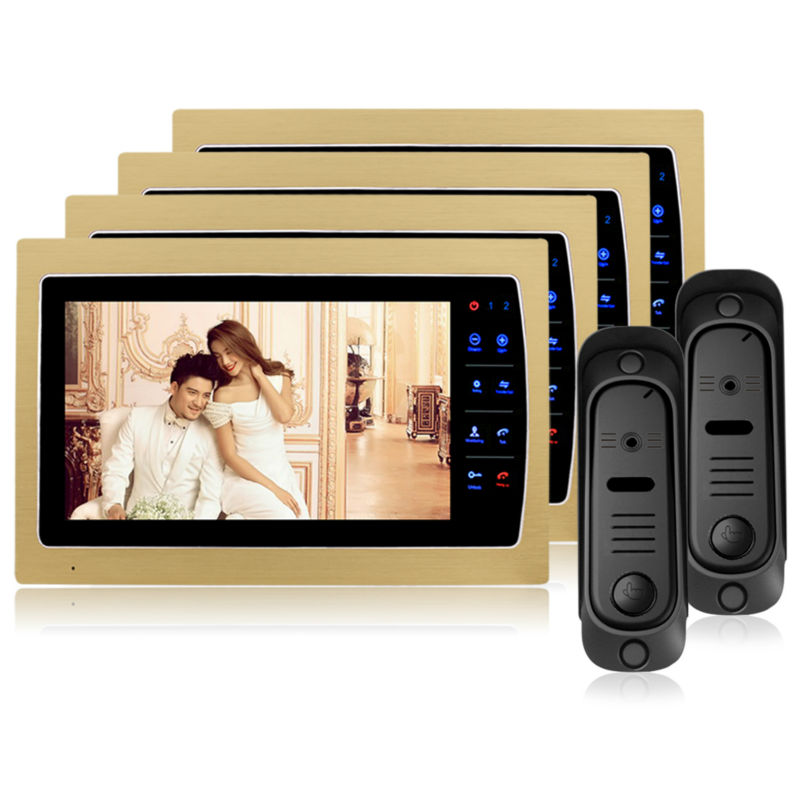 Homefong7Inch TFT Touch Screen Color Video Door Phone Cmos Night Vision Camera Intercom System 12 Door Bell Rings door viewerNEW 7inch video door phone intercom system for 10apartment tft lcd screen 10 flat indoor monitor night vision cmos outdoor camera