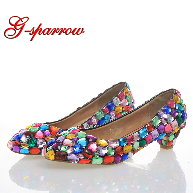 1 Inches Low Heel Crystal Mother of Bride Shoes Multicolor Kitten Heel Comfortable Wedding Party Dance Shoes Luxury Prom Shoes ab crystal heels luxury diamond platform bridal pumps wedding shoes lady sparkling prom party shoes mother of bride shoes