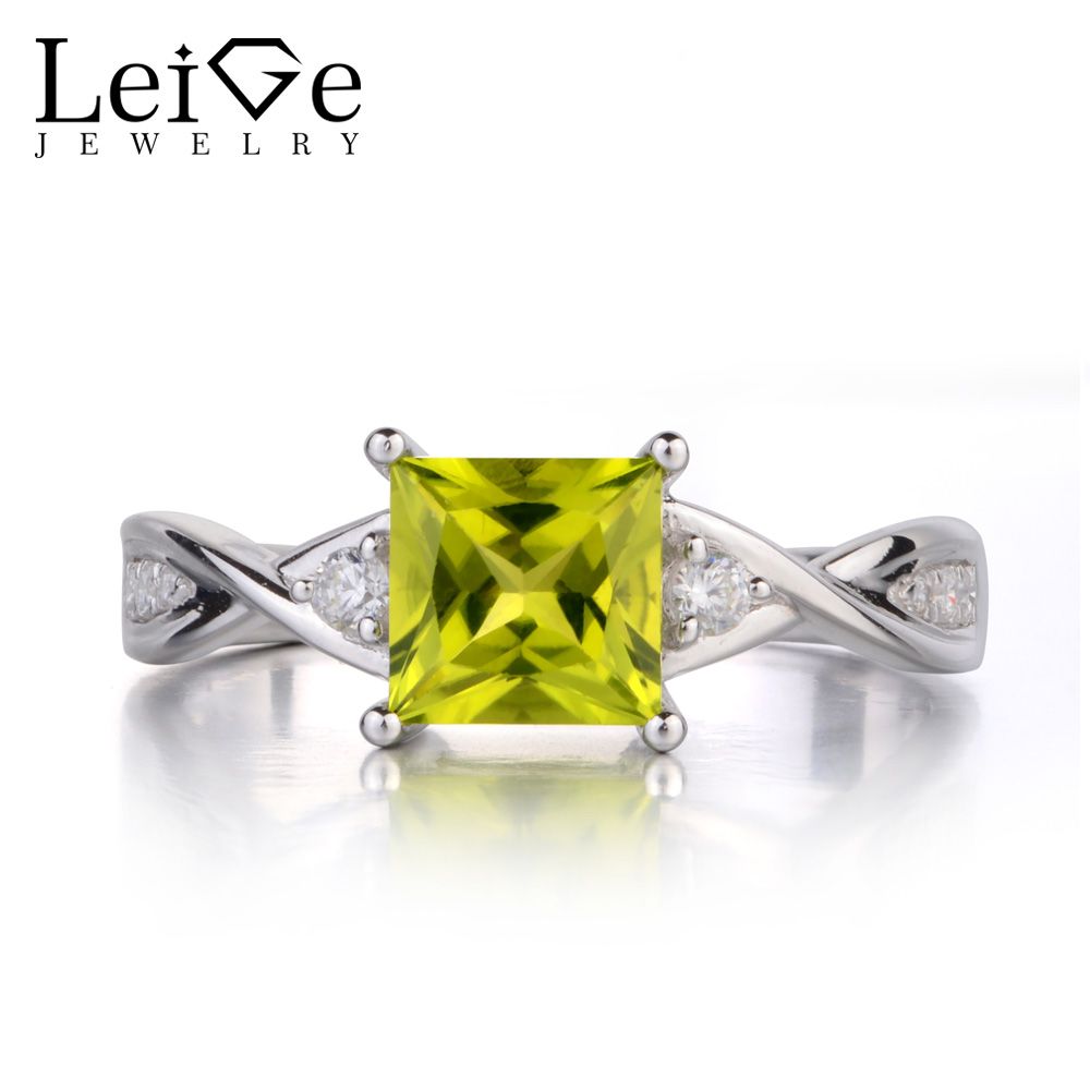 Leige Jewelry Princess Cut Peridot Ring Green Gemstone Wedding Engagement Rings For Women 925 Sterling Silver Fine JewelryLeige Jewelry Princess Cut Peridot Ring Green Gemstone Wedding Engagement Rings For Women 925 Sterling Silver Fine Jewelry