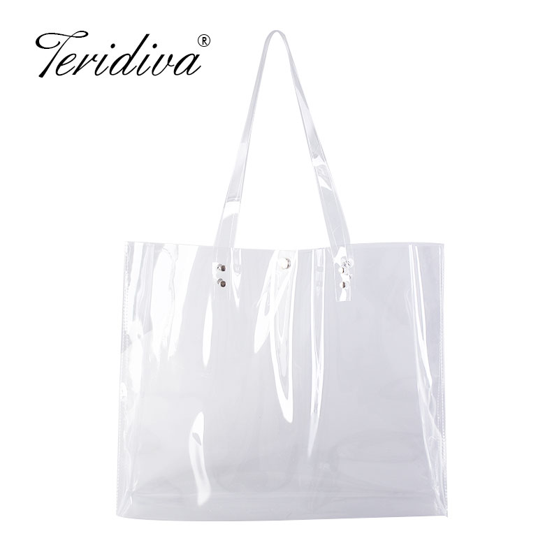 Large Capacity Clear PVC Women Handbags Jelly Transparent Plastic Summer Vacation Beach Shoulder Bags Tote Shopping Bags