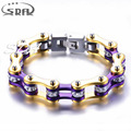 New 316L Stainless steel Luxury Gold Bracelet biker motor bicycle Link Chain Bracelets For Women crystal jewelry Wholesale YM123