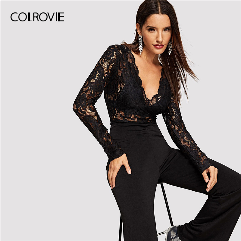 COLROVIE V-Neck Sheer Lace Bodice Flared Leg Sexy Long   Jumpsuit   Womens 2019 Spring High Waist Floral Elegant Skinny Rompers
