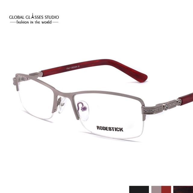 d27d2237c9b Luxury Half Rim Classic Diamond Design Women Metal Optical Frames Rx  Eyeglasses with Bling Rhinestones 5048