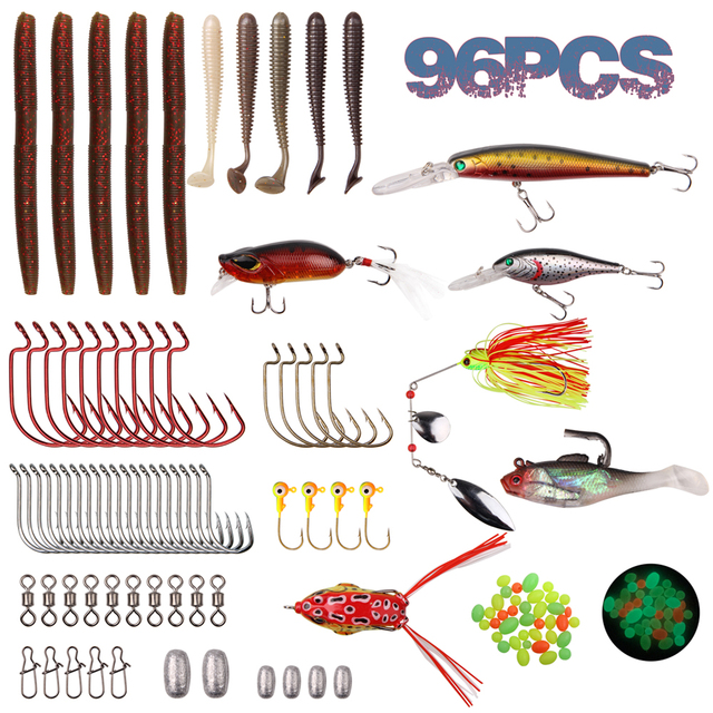 96Pcs Fishing Tackle Box Lure Kit Crankbait Jigs Spinnerbait Swimbait Sinker Weight Barrel Swivel Worm Octopus Hooks For Bass