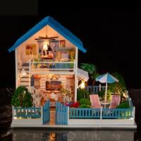 DIY Doll House Minature Wooden Dollhouse Mini Casa Furnitures Villa Building Kits Accessories Toys For Children Adults K004 #E
