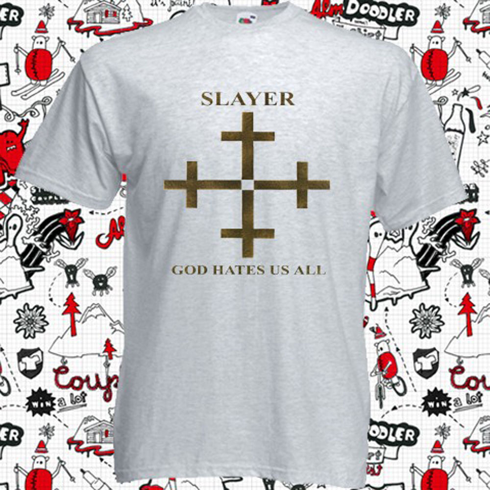 New Slayer God Hates Us All Album Cover Logo Men's Grey T-Shirt Size S-3XLMen T-Shirt Tops image