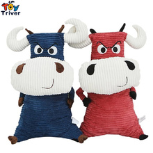 Triver Toy Creative Red Blue Bull Cow doll pillow plush toys stuffed cattle gift for baby kids boy girl free shipping недорого