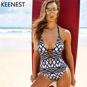 6866670a357 KEENEST Hollow Cut Out One Piece Swimsuit Bathing Suit 2018 Monokini