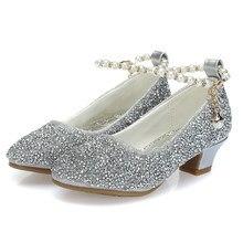 276b6198 ULKNN zapatos para Grirls oro plata Rosa cabeza redonda diaria de fibra  niños de tacón alto