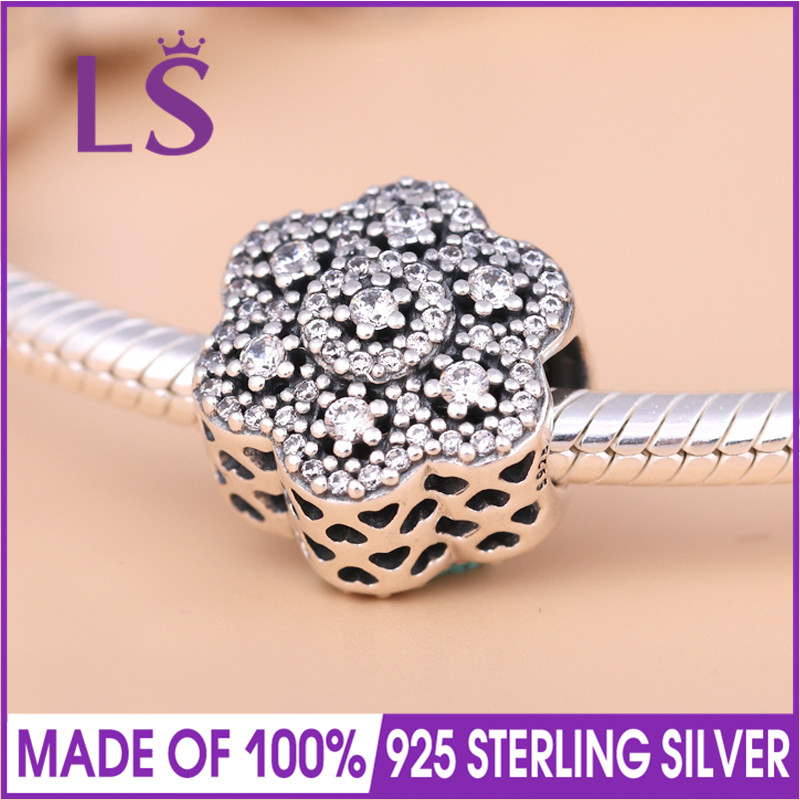 LS High Quality Real 925 Sterling Silver Ice Floral Charm Beads Fit Original Bracelets Pulseira Encantos.100% Fine Jewlery.J