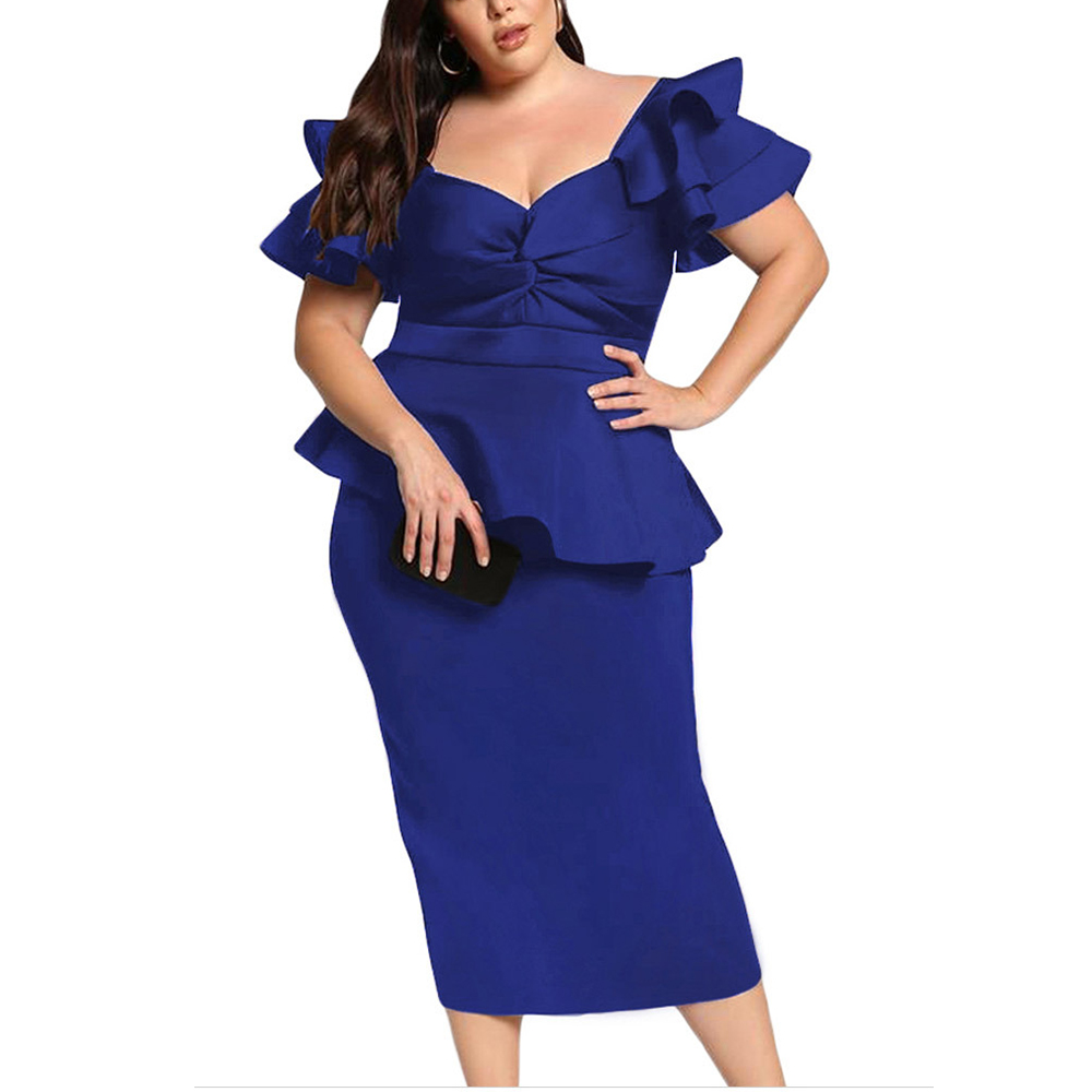 Female Plus Size Evening Gown Large Big Size Fashion Party Dresses Petal Sleeve Clothing Elegant Vestidos