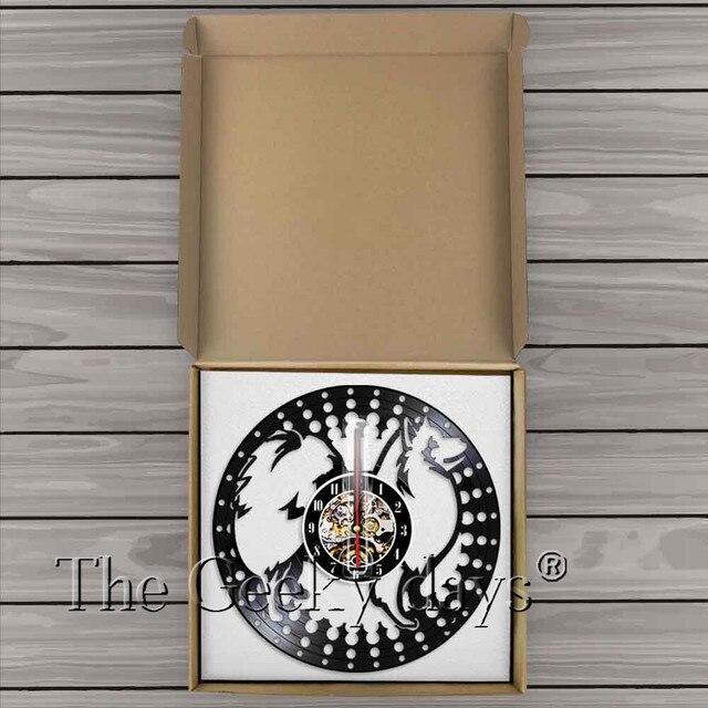 Horloge murale japonaise Spitz   Silhouette, horloge murale 3D, horloge murale, chien chiot Animal, enregistrement en vinyle, cadeau artisanal fait à la main