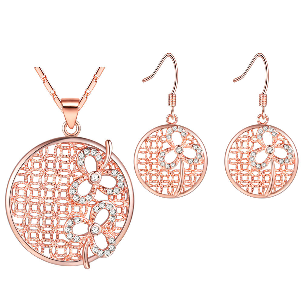 NPASON 2018 Fashioni Jewelry Sets 18K Silver/Rose Gold Plating Hollow Pendent Necklace Earrings Suit Women/grils Gift