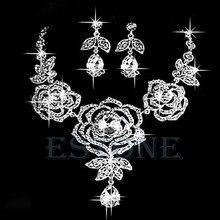Набор украшений для невесты, свадьбы, вечеринки, роза, кристалл, стразы, капля, ожерелье, серьги